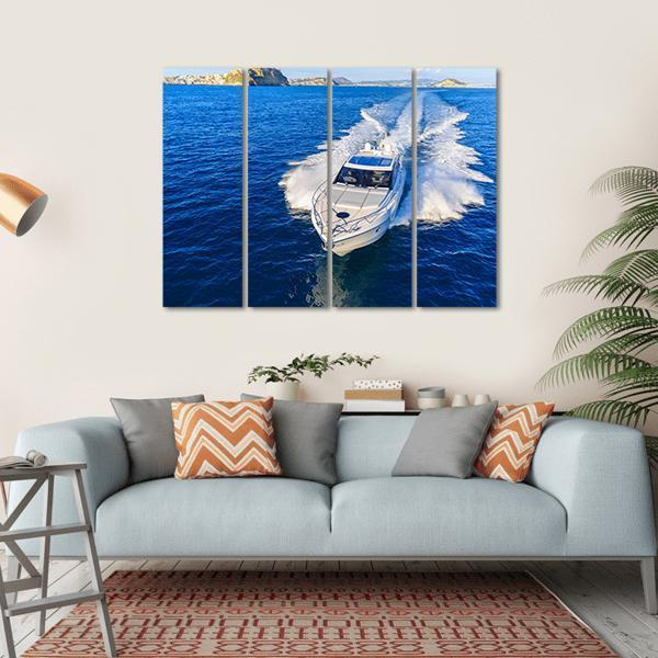 White Yacht In Ocean Multi Panel Canvas Wall Art 1 Piece / Small / Gallery Wrap Tiaracle