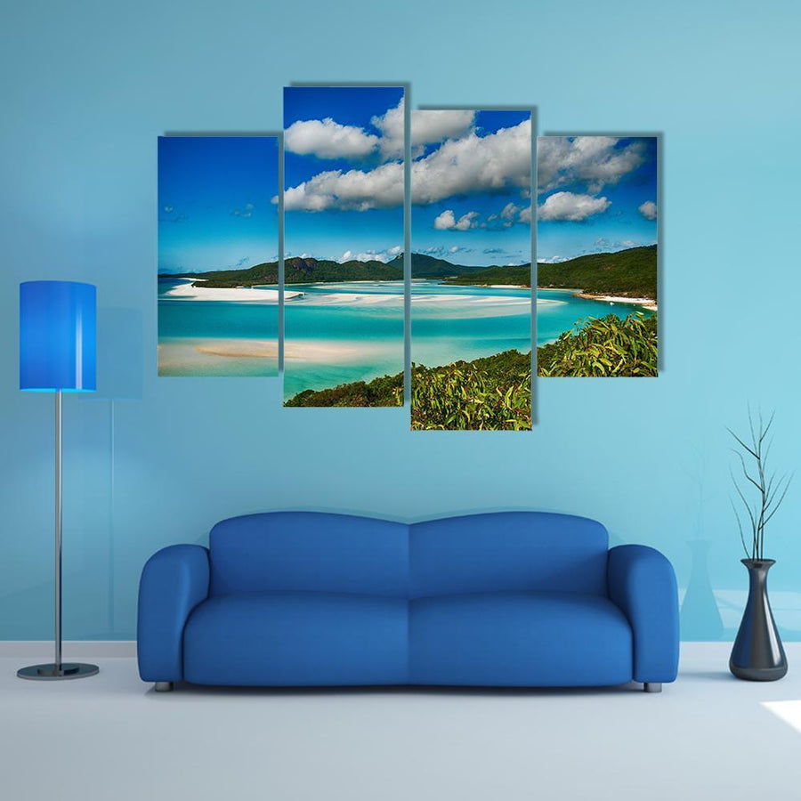 Whitehaven Beach Lagoon Multi Panel Canvas Wall Art 3 Pieces / Medium / Canvas Tiaracle