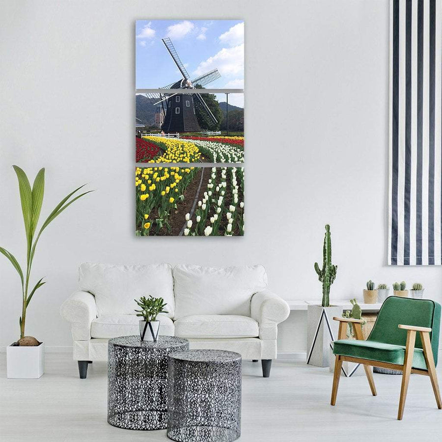 Wind Turbine In Spring Vertical Canvas Wall Art 1 Vertical / Small / Gallery Wrap Tiaracle