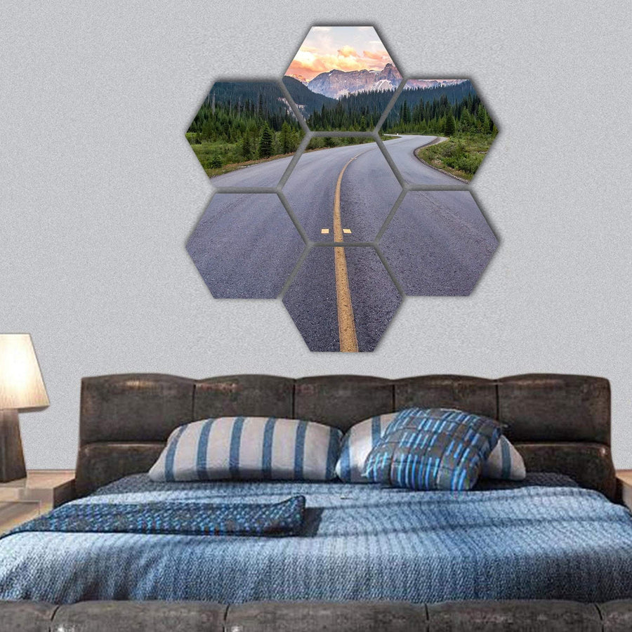 Winding Road Leads To Beautiful Sunset Hexagonal Canvas Wall Art 1 Hexa / Small / Gallery Wrap Tiaracle