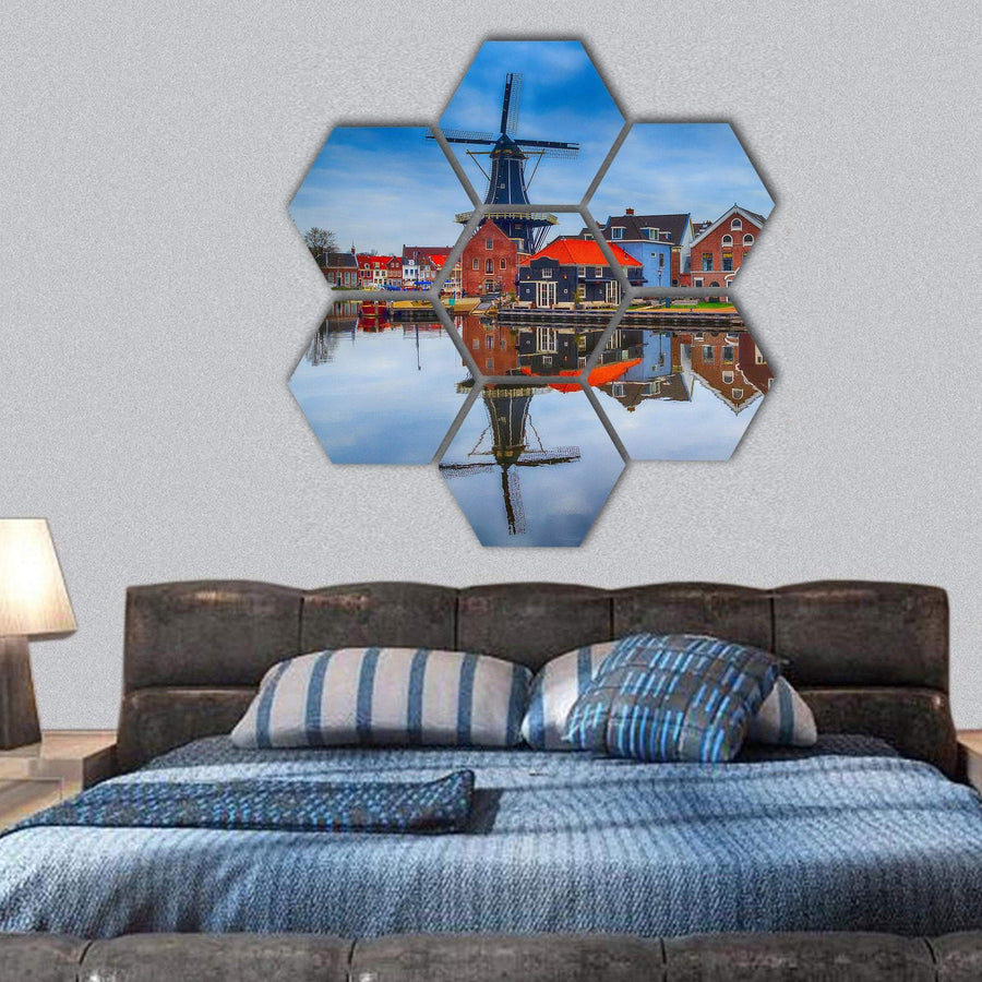 Windmill And Traditional Houses In Haarlem Hexagonal Canvas Wall Art 1 Hexa / Small / Gallery Wrap Tiaracle