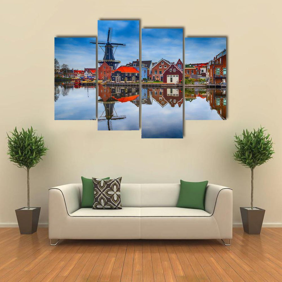 Windmill And Traditional Houses In Haarlem Multi Panel Canvas Wall Art 1 Piece / Medium / Canvas Tiaracle