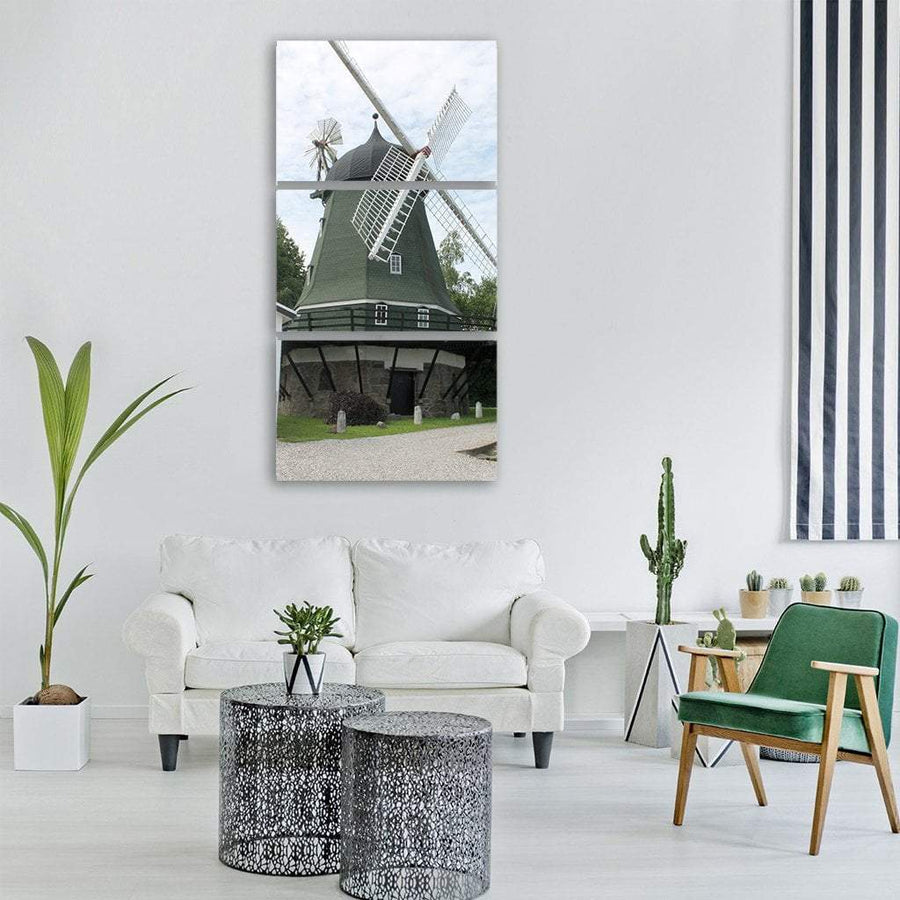 Windmill In Denmark Vertical Canvas Wall Art 1 Vertical / Small / Gallery Wrap Tiaracle