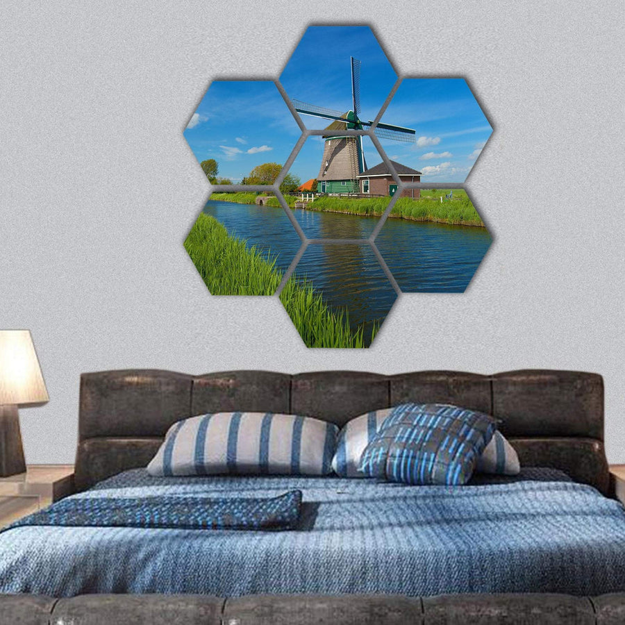 Windmill On The Outskirts Of Amsterdam Hexagonal Canvas Wall Art 1 Hexa / Small / Gallery Wrap Tiaracle