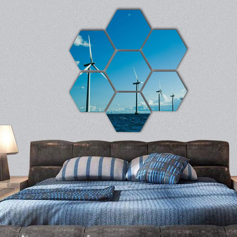 Windmills In Denmark Hexagonal Canvas Wall Art 1 Hexa / Small / Gallery Wrap Tiaracle