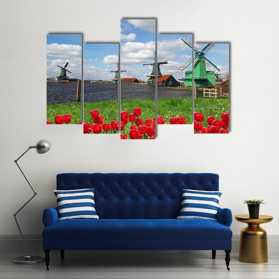 Dutch Windmills With Red Tulips In Amsterdam Canvas Panel Painting Tiaracle
