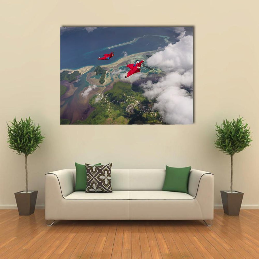 Wingsuit Flying Over Palau Coast Multi Panel Canvas Wall Art-5 Horizontal-Small-Gallery Wrap-Tiaracle