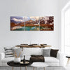 Winter Mountain Lake In Switzerland Panoramic Canvas Wall Art 3 Piece / Small Tiaracle