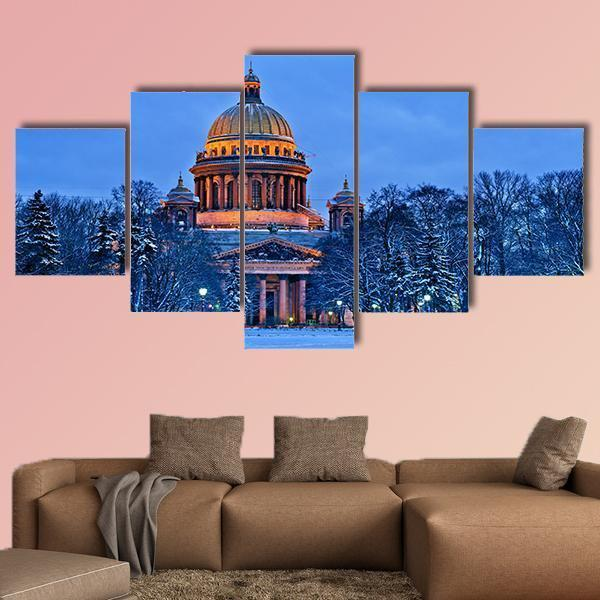 Winter View Of St Isaac's Cathedral In Saint Petersburg Multi Panel Canvas Wall Art 5 Pieces(A) / Medium / Canvas Tiaracle