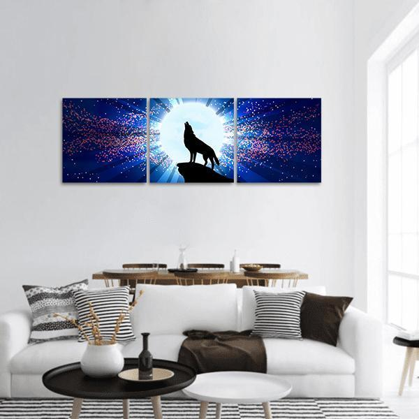 Wolf Howling At The Moon Panoramic Canvas Wall Art 1 Piece / Small Tiaracle