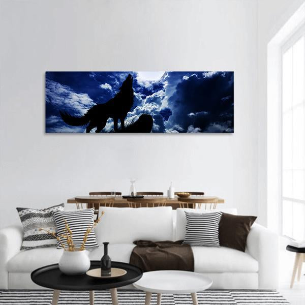 Wolf Howling In Full Moon Panoramic Canvas Wall Art 3 Piece / Small Tiaracle