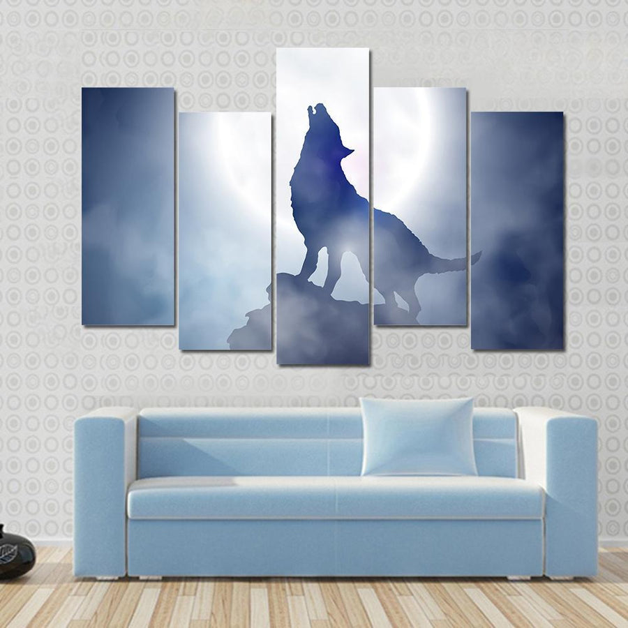 Wolf Howling On Moon Night Panel Painting 3 Pieces / Small / Gallery Wrap Tiaracle