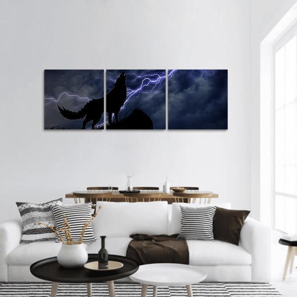 Wolf In Silhouette To Thunderstorm Panoramic Canvas Wall Art Tiaracle