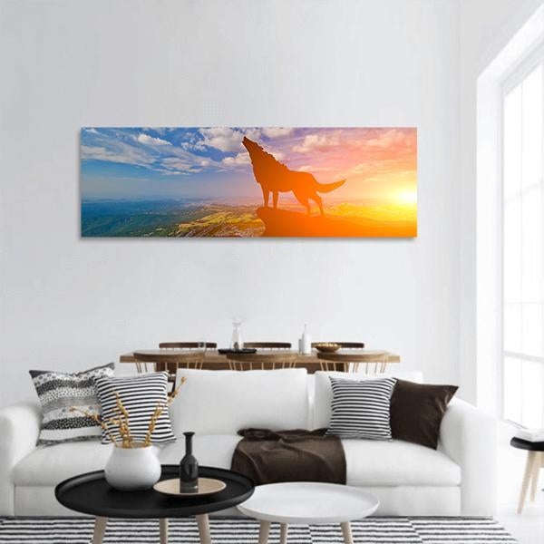 Wolf On A Mountain Top Panoramic Canvas Wall Art 3 Piece / Small Tiaracle