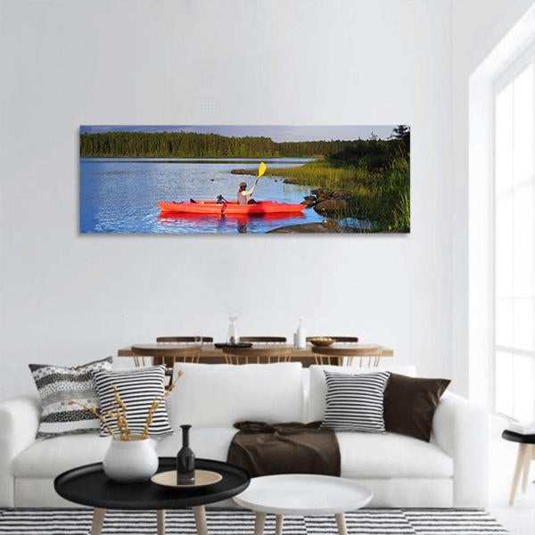 Woman Canoeing In A Lake Panoramic Canvas Wall Art 3 Piece / Small Tiaracle