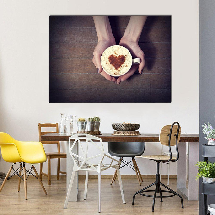 Woman Holding Hot Cup Of Coffee With Heart Shape Multi Panel Canvas Wall Art 4 Square / Small / Gallery Wrap Tiaracle