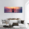 Woman Meditation On The Beach Panoramic Canvas Wall Art 3 Piece / Small Tiaracle