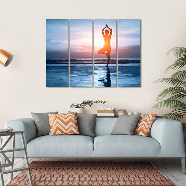 Woman Practicing Yoga At The Beach Canvas Wall Art-1 Piece-Small-Gallery Wrap-Tiaracle