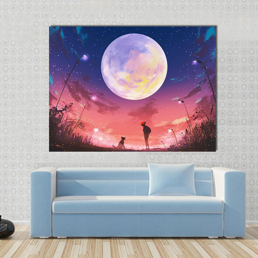 Woman With Dog At Beautiful Night Canvas Wall Art-4 Square-Small-Gallery Wrap-Tiaracle