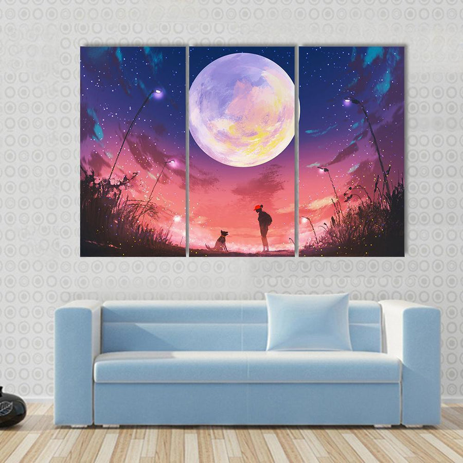 Woman With Dog At Beautiful Night Multi Panel Canvas Wall Art 3 Pieces / Small / Gallery Wrap Tiaracle