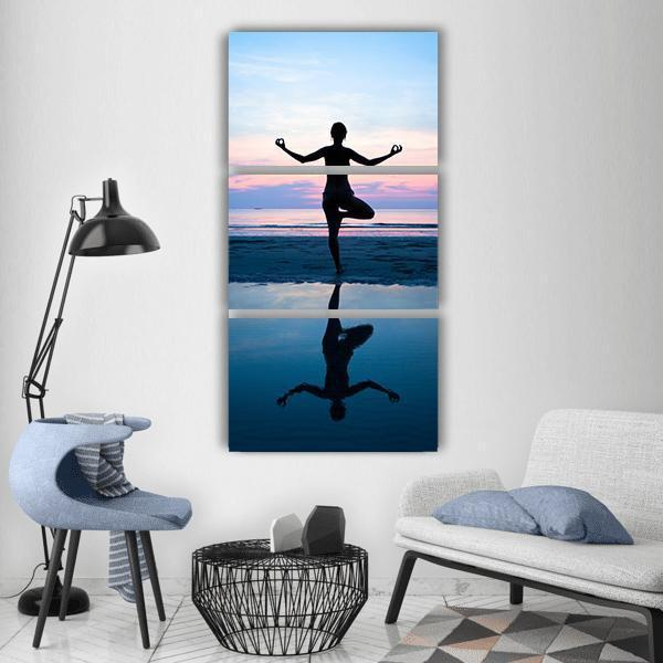 Woman Yoga On The Beach Vertical Canvas Wall Art 1 Vertical / Small / Gallery Wrap Tiaracle
