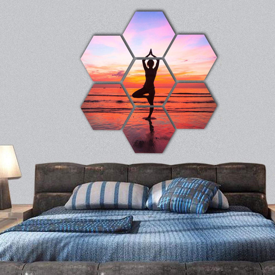 Woman Yoga practice At The Seaside At Sunset Hexagonal Canvas Wall Art 1 Hexa / Small / Gallery Wrap Tiaracle