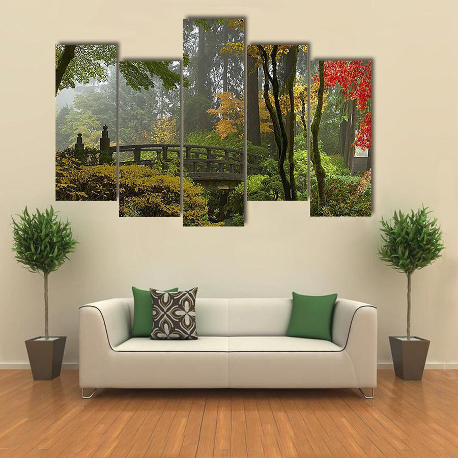 Wooden Bridge At Japanese Garden Multi Panel Canvas Wall Art 3 Pieces / Medium / Canvas Tiaracle