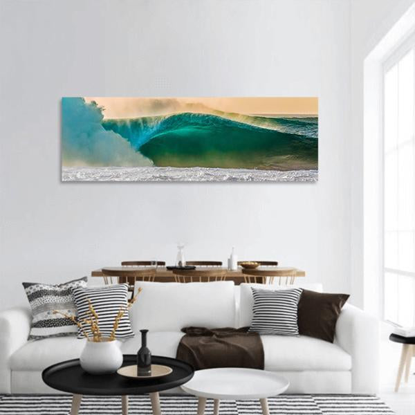 World Famous Bonzai Pipeline Surf Wave In Hawaii Panoramic Canvas Wall Art 3 Piece / Small Tiaracle