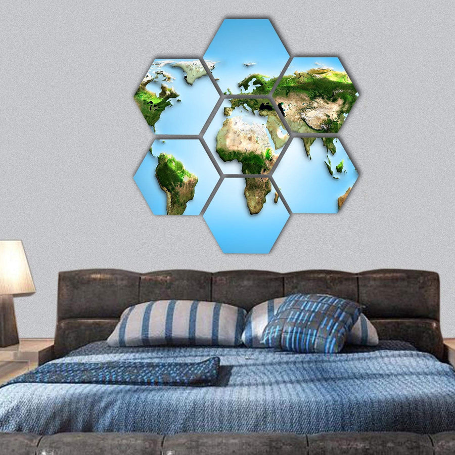 World Map Illustration Hexagonal Canvas Wall Art 1 Hexa / Small / Gallery Wrap Tiaracle