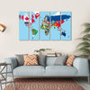 World Map With All States And Their Flags Multi Panel Canvas Wall Art 5 Horizontal / Small / Gallery Wrap Tiaracle