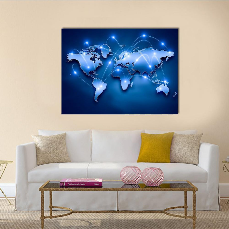 World Map With Connection Lines Multi Panel Canvas Wall Art-5 Horizontal-Small-Gallery Wrap-Tiaracle
