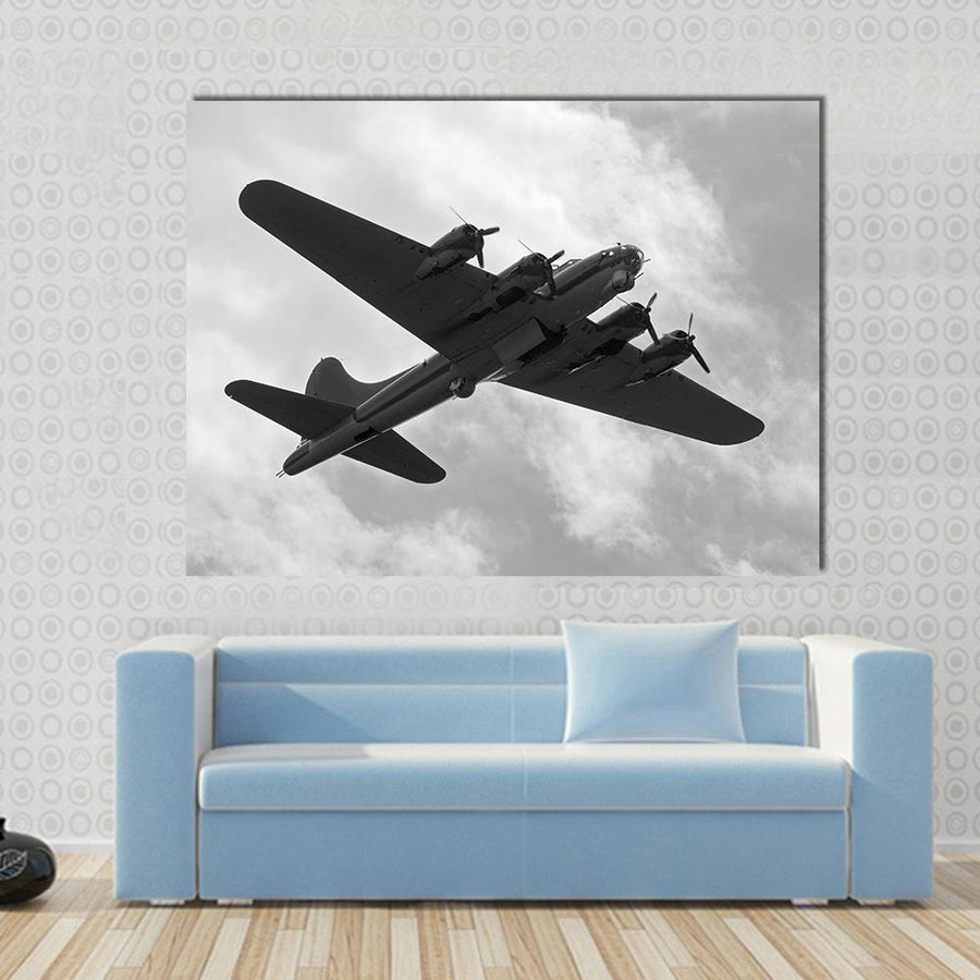 World War II Era Heavy Bomber On A Mission Multi Panel Canvas Wall Art 5 Horizontal / Small / Gallery Wrap Tiaracle