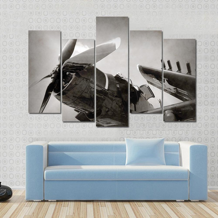 World War II Era Navy Fighter Plane With Folded Wings Multi Panel Canvas Wall Art 3 Pieces / Small / Gallery Wrap Tiaracle