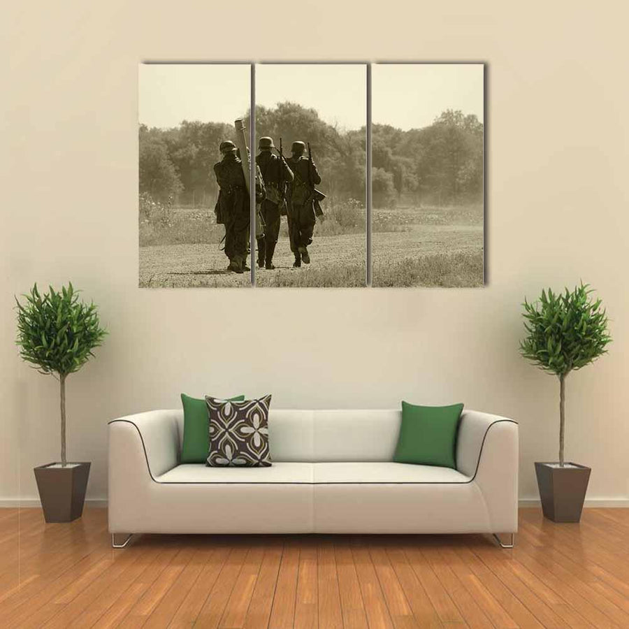 World War II Era Soldiers Multi Panel Canvas Wall Art 1 Piece / Xsmall / Gallery Wrap Tiaracle