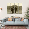 World War II Era Soldiers Multi Panel Canvas Wall Art 4 Horizontal / Small / Gallery Wrap Tiaracle