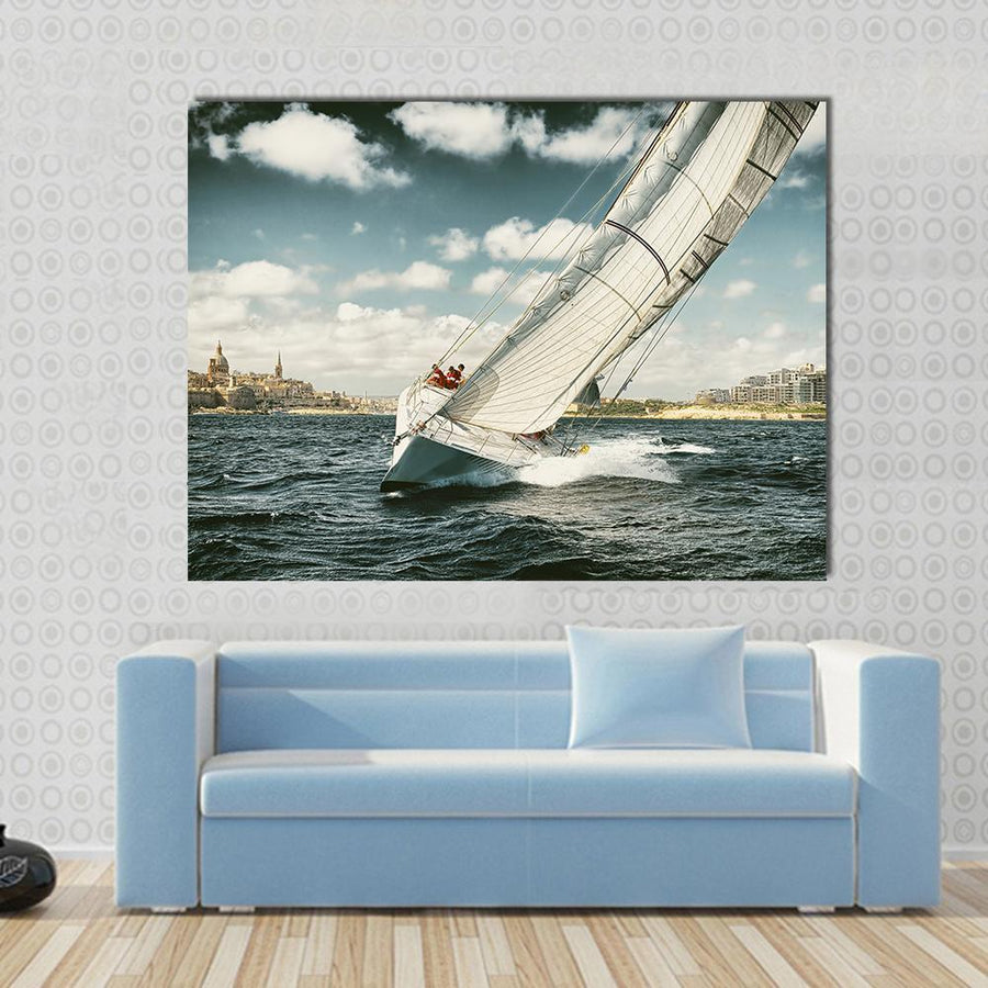 Yacht Illustration In Coastal Area Canvas Panel Painting Tiaracle