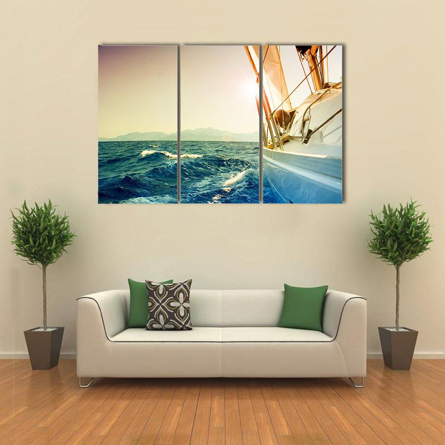 Yacht Sailing Against Sunset Multi Panel Canvas Wall Art 1 Piece / Xsmall / Gallery Wrap Tiaracle