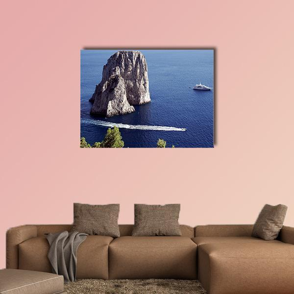 Yacht Sailing In Il Faraglioni Of Capri Island Multi Panel Canvas Wall Art 4 Horizontal / Small / Gallery Wrap Tiaracle