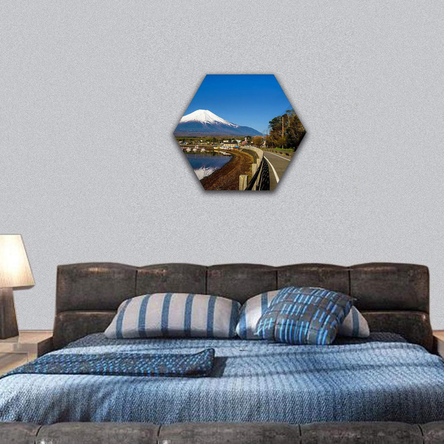 Yamanaka Lake With Mount Fujisan Hexagonal Canvas Wall Art 7 Hexa / Small / Gallery Wrap Tiaracle