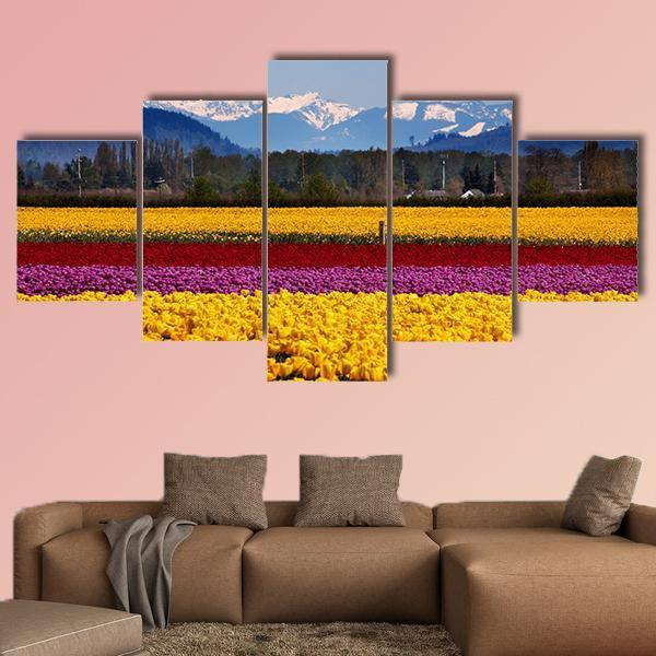 Yellow Red Purple Tulips Flowers Daffodils Multi Panel Canvas Wall Art 5 Pieces(A) / Medium / Canvas Tiaracle