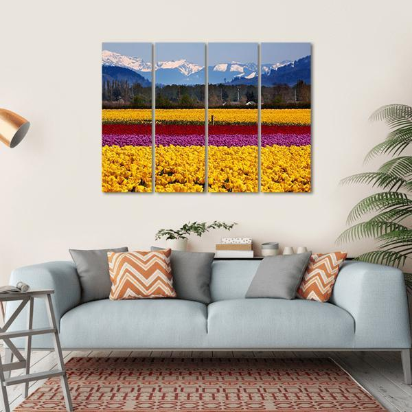 Yellow Red Purple Tulips Flowers Daffodils Multi Panel Canvas Wall Art 1 Piece / Small / Gallery Wrap Tiaracle
