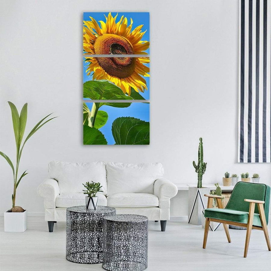 Yellow Sunflower Blossom Vertical Canvas Wall Art 1 Vertical / Small / Gallery Wrap Tiaracle