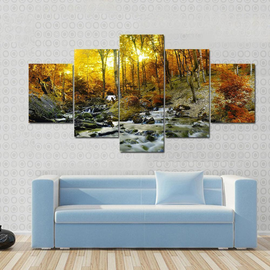 Yellow Trees Foliage And Rocks In Forest Canvas Panel Painting Tiaracle