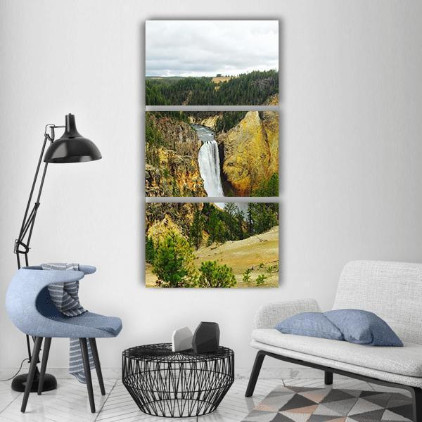 Yellowstone Canyon Waterfall Vertical Canvas Wall Art 1 Vertical / Small / Gallery Wrap Tiaracle