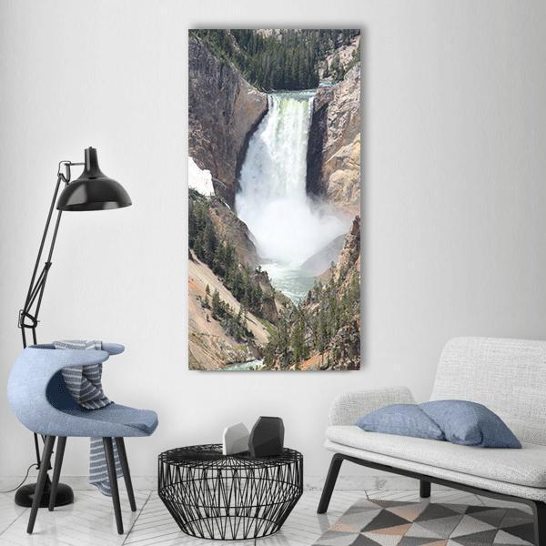 Yellowstone Falls In United States Vertical Canvas Wall Art 3 Vertical / Small / Gallery Wrap Tiaracle
