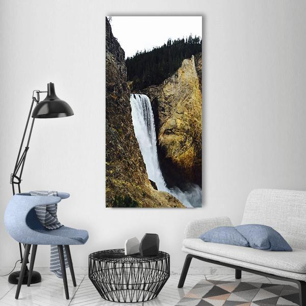Yellowstone Grand Canyon Waterfall In Wyoming Vertical Canvas Wall Art 3 Vertical / Small / Gallery Wrap Tiaracle
