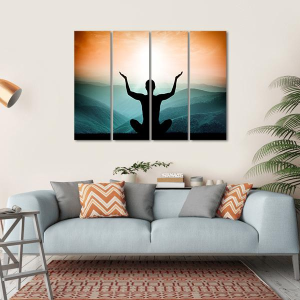 Yoga And Meditation Silhouette Of Man On The Mountain Canvas Wall Art-5 Horizontal-Small-Gallery Wrap-Tiaracle
