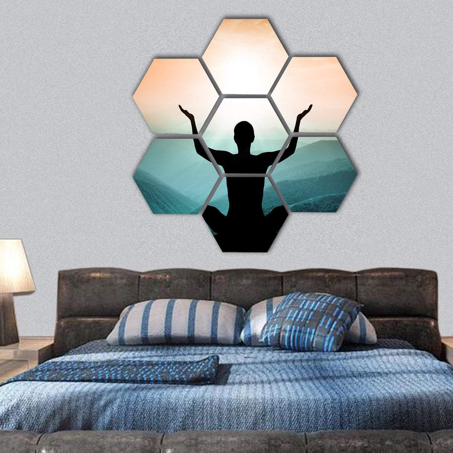 Yoga And Meditation Silhouette Of Man On The Mountain Hexagonal Canvas Wall Art 1 Hexa / Small / Gallery Wrap Tiaracle