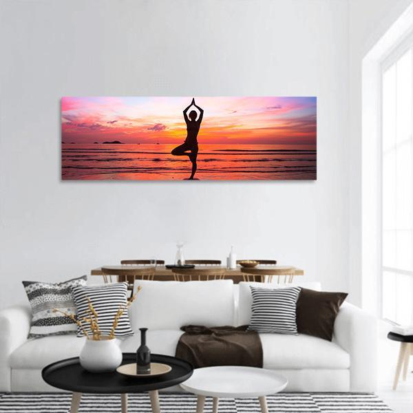 Yoga At Seaside Panoramic Canvas Wall Art 3 Piece / Small Tiaracle