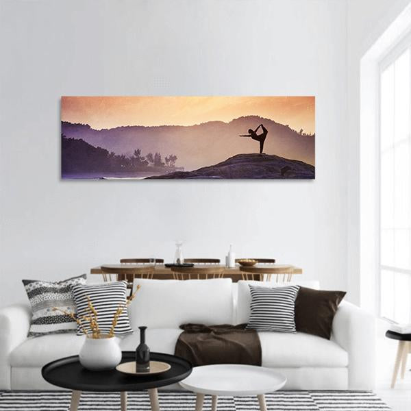 Yoga On Mountains Panoramic Canvas Wall Art 3 Piece / Small Tiaracle